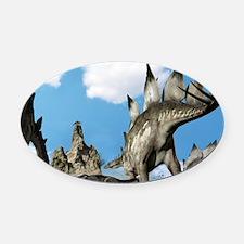 Stegosaurus dinosaur Oval Car Magnet