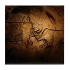 Stone-age cave paintings, Chauvet, Fr Tile Coaster