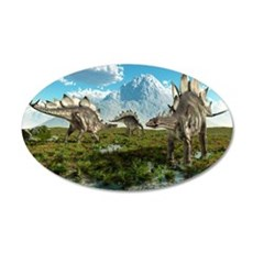 Stegosaurus dinosaurs, artwo 35x21 Oval Wall Decal