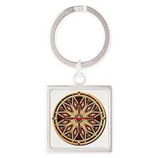 Native American Rosette - 02 Square Keychain