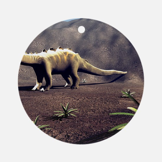 Young Diplodocus dinosaur Round Ornament