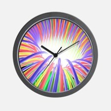 Multicoloured light ray funnel, artwork Wall Clock