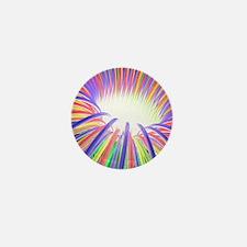 Multicoloured light ray funnel, artwor Mini Button
