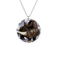 Woolly rhinoceros Necklace Circle Charm