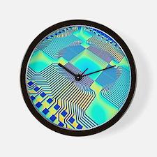 Microprocessor chip, computer artwork Wall Clock