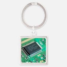 Microprocessor chip Square Keychain