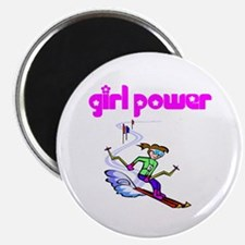 Girl Power Skiing Magnet