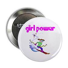 Girl Power Skiing Button