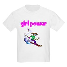 Girl Power Skiing Kids T-Shirt