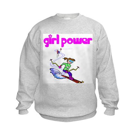 Girl Power Skiing Kids Sweatshirt
