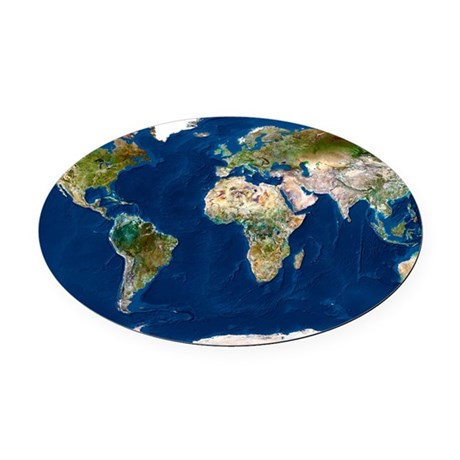 Whole Earth map Oval Car Magnet by Admin CP66866535