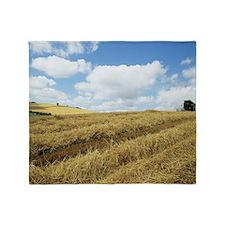 Wheat harvest Throw Blanket