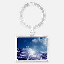 Solar panels in the sun Landscape Keychain