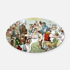 Smallpox vaccination, satirical ar Oval Car Magnet