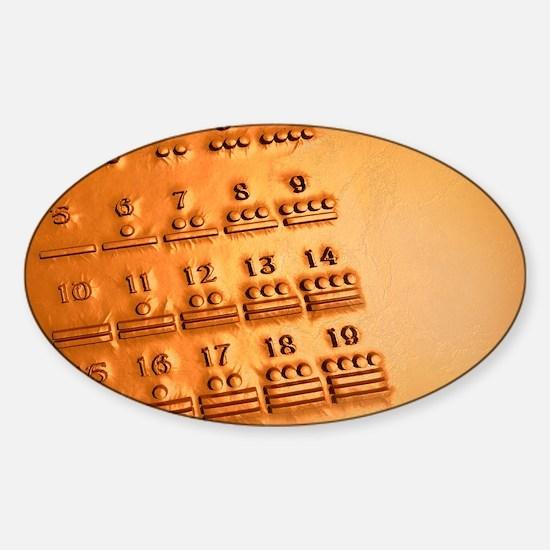 Maya numerals, artwork Sticker (Oval)