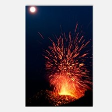 Volcano at night Postcards (Package of 8)
