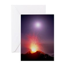 Volcano at night Greeting Card