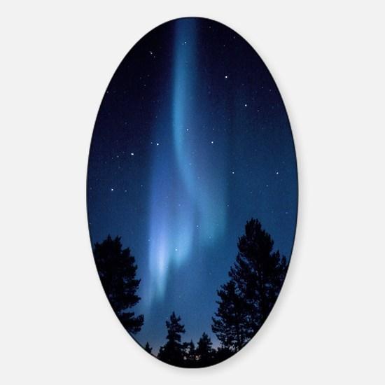 View of an aurora borealis display Sticker (Oval)