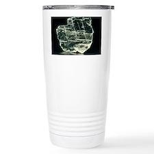 View of a sample of selenite, a Travel Mug