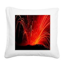 Volcanic eruption Square Canvas Pillow
