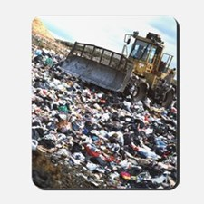 View of a bulldozer working a landfill r Mousepad