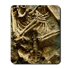 View of the skeleton of a neanderthal Mousepad