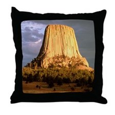 View of Devil's Tower, a basalt outcr Throw Pillow