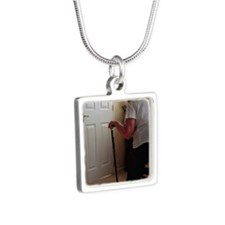 Using a walking stick Silver Square Necklace