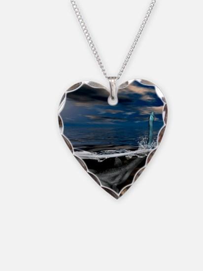 Loch Ness monster, artwork Necklace Heart Charm