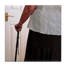 Using a walking stick Tile Coaster
