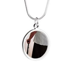 Using a walking stick Silver Round Necklace