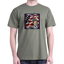 Miniature Pinscher US Flag Dark Colored T-Shirt