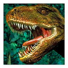"Tyrannosaurus rex dinosa Square Car Magnet 3"" x 3"""