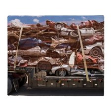 Scrap Cars in Transit for Recycling Throw Blanket