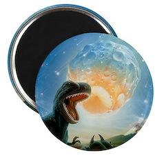 Tyrannosaurus rex fleeing from an asteroid  Magnet