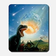 Tyrannosaurus rex fleeing from an astero Mousepad