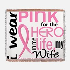- Hero in Life Wife Breast Cancer Woven Blanket