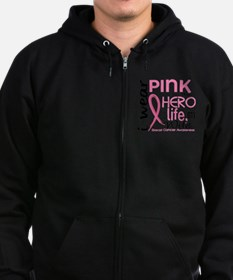 - Hero in Life Wife Breast Cance Zip Hoodie
