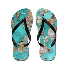 Turquoise mineral Flip Flops