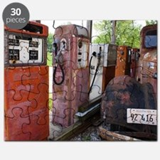 Rusty gas pumps and car Puzzle