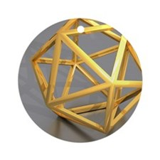 Icosahedral structure, artwork Round Ornament