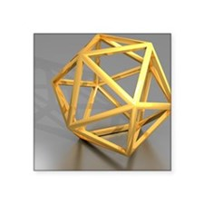"Icosahedral structure, artw Square Sticker 3"" x 3"""