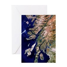 True-colour satellite image of weste Greeting Card