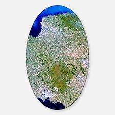 True-colour satellite image of sout Sticker (Oval)