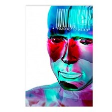 Humanoid and barcode, art Postcards (Package of 8)
