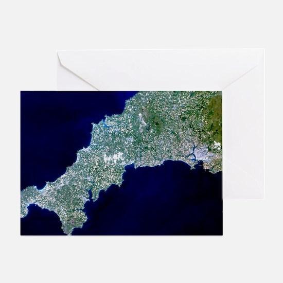 True-colour satellite image of Cornw Greeting Card