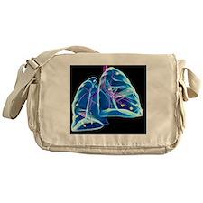 Human lungs, artwork Messenger Bag