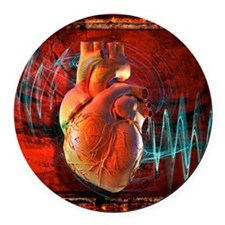 Human heart, artwork Round Car Magnet