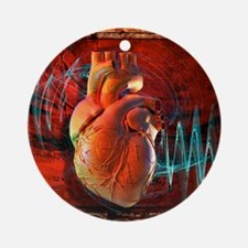 Human heart, artwork Round Ornament