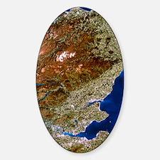 True-colour satellite image of nort Sticker (Oval)